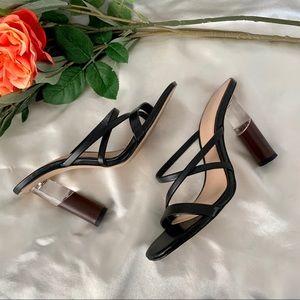 Zara Clear/ Wood Heel   Sz 6